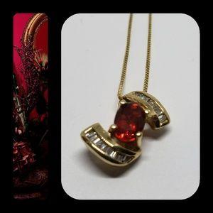 Jewelry - PRICE CUT! 14KYG Rubelite & Diamond Necklace